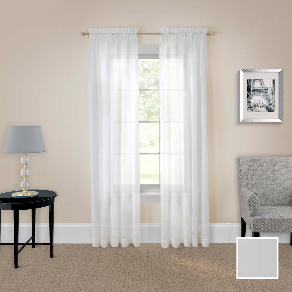 Pairs to Go Victoria Voile Window Curtain Panel Pair in White - 118 in. W x 63 in. L