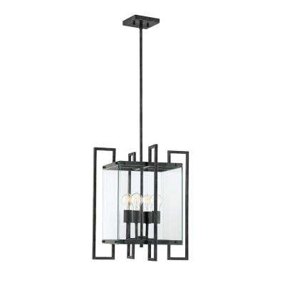 4-Light Black Steel Pendant with Clear Glass