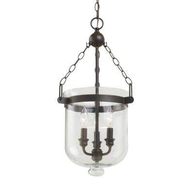 Westminster 11.75 in. W 3-Light Autumn Bronze Pendant with Clear Glass