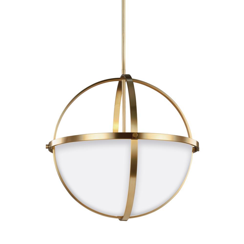 Alturas 3-Light Satin Brass Pendant with LED Bulbs