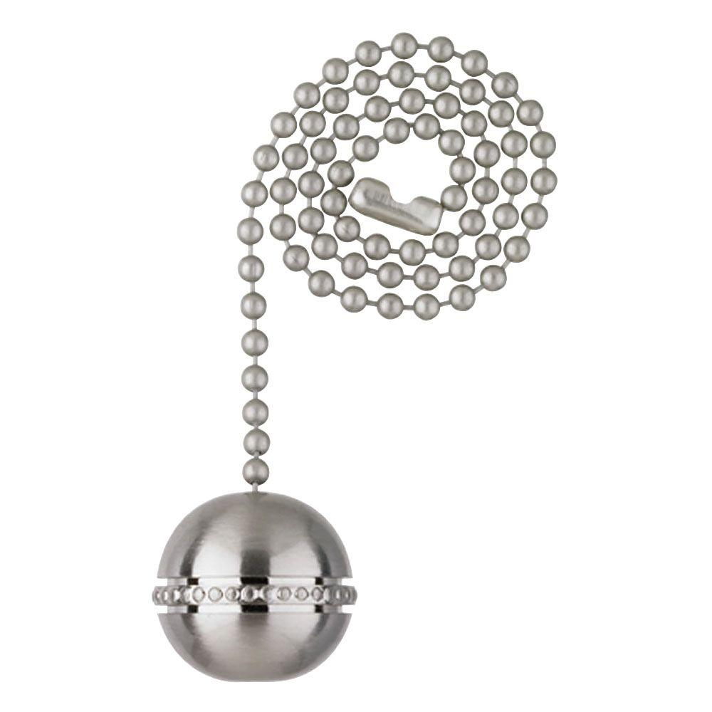 Brushed Nickel Beaded Ball Pull Chain