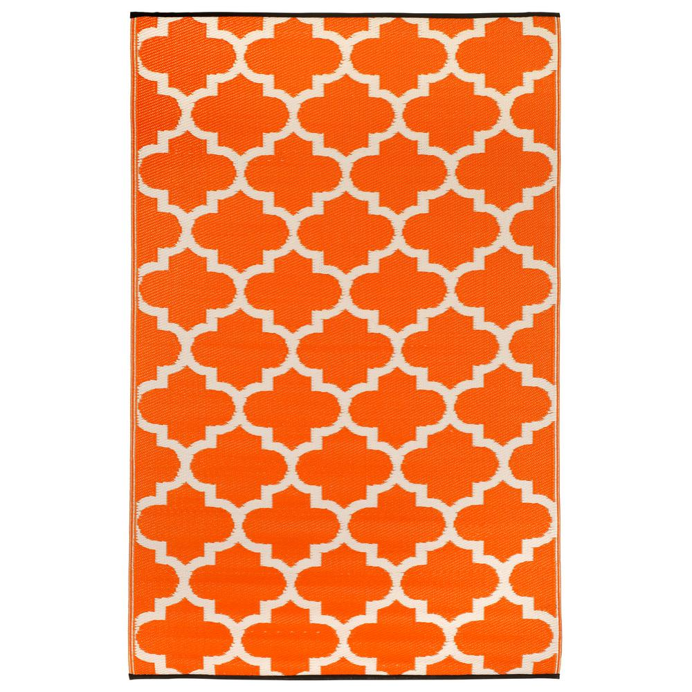 Fab Habitat Tangier Indoor/Outdoor Carrot and White 6 ft. x 9 ft. Area Rug