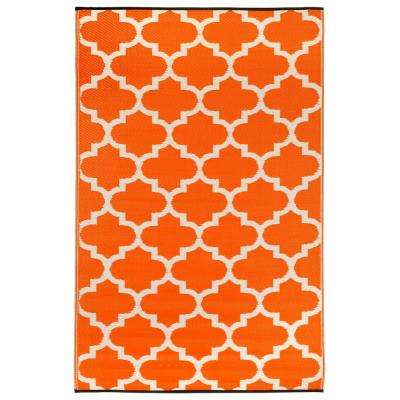Tangier Indoor/Outdoor Carrot and White 6 ft. x 9 ft. Area Rug