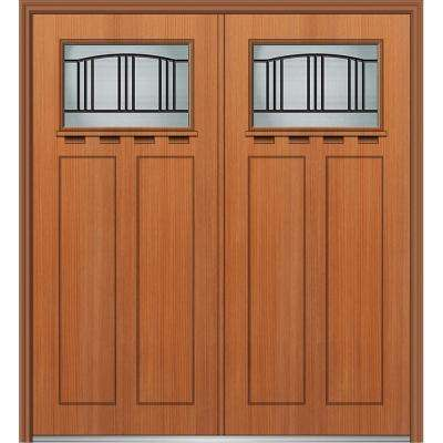 64 in. x 80 in. Madison Right-Hand Inswing 1/4-Lite Decorative Stained Fiberglass Fir Prehung Front Door with Shelf