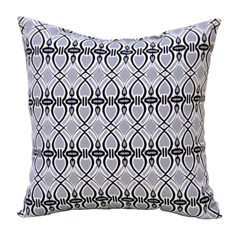 Hampton Bay Black Trellis Square Outdoor Throw Pillow