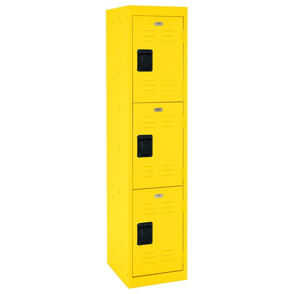 Sandusky 66 in. H 3-Tier Welded Steel Storage Locker in Yellow