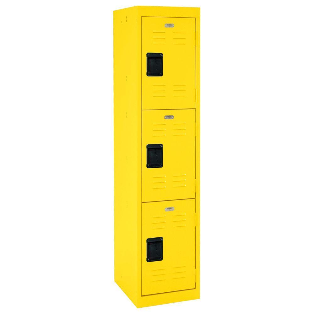 66 in. H 3-Tier Welded Steel Storage Locker in Yellow