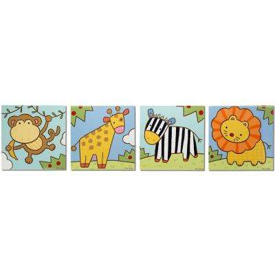 Brevium 12 in. x 50 in. Zoo Animals Metal Wall Art (Set of 4)