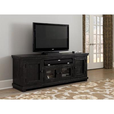 Willow 74 in. Distressed Black Wood TV Stand Fits TVs Up to 65 in. with Storage Doors