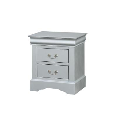 Amelia 2-Drawer 15 in. x 21 in. x 24 in. Platinum Wood Nightstand