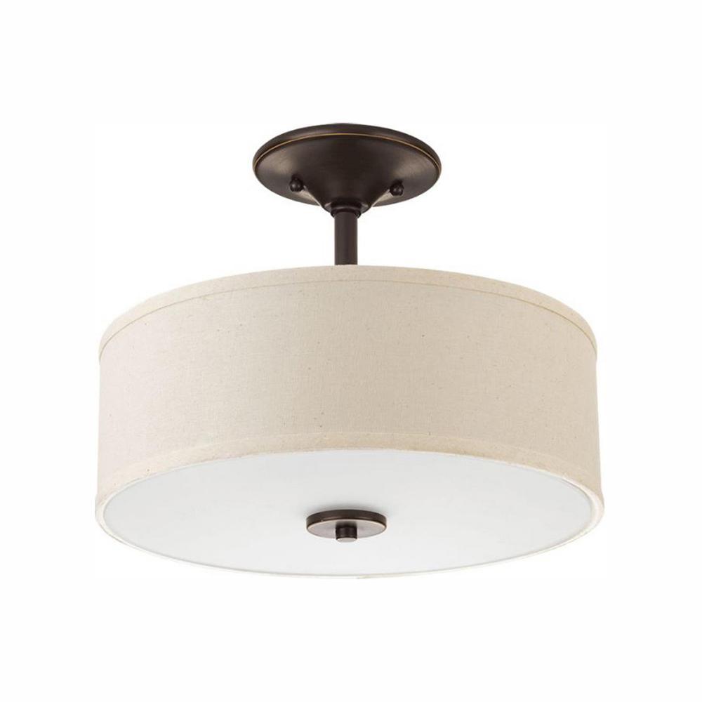 Progress Lighting Inspire Collection 17-Watt Antique Bronze Integrated LED Semi-Flush Mount