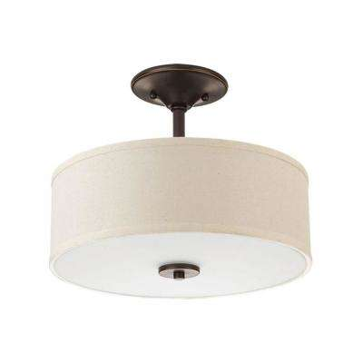 Inspire Collection 17-Watt Antique Bronze Integrated LED Semi-Flush Mount