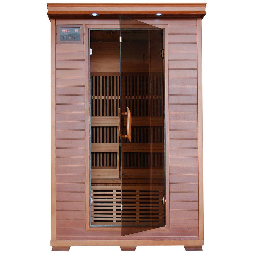 radiant sauna 2 person cedar infrared sauna with 6 carbon heaters bsa1309 the home depot. Black Bedroom Furniture Sets. Home Design Ideas