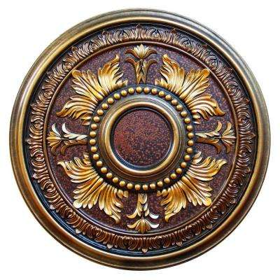30-5/8 in. Gilded Leaves, Bronze, Gold, Copper, Brass Polyurethane Hand Painted Ceiling Medallion