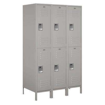 18-52000 Series 6 Compartments Double Tier 54 In. W x 78 In. H x 21 In. D Metal Locker Assembled in Gray