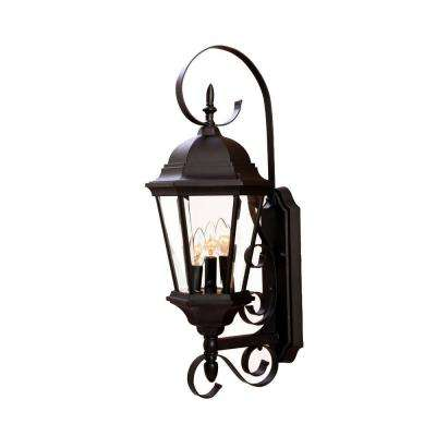 New Orleans Collection 3-Light Matte Black Outdoor Wall-Mount Light Fixture