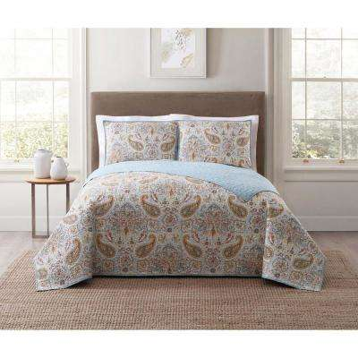 Manchester Blue Multi Full and Queen XL Quilt Set