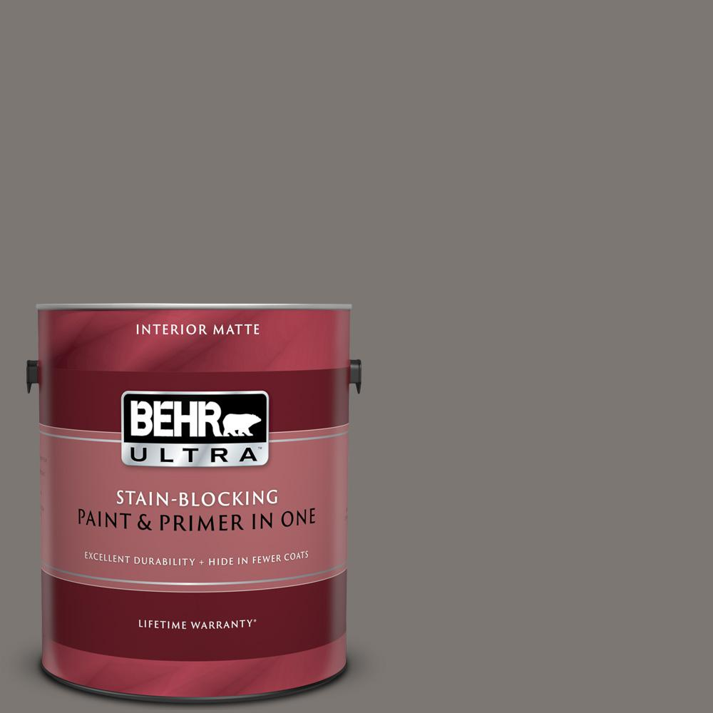 BEHR ULTRA 1 gal. #790F-5 Amazon Stone Matte Interior Paint and Primer in One BEHR ULTRA 1 gal. #790F-5 Amazon Stone Matte Interior Paint and Primer in One