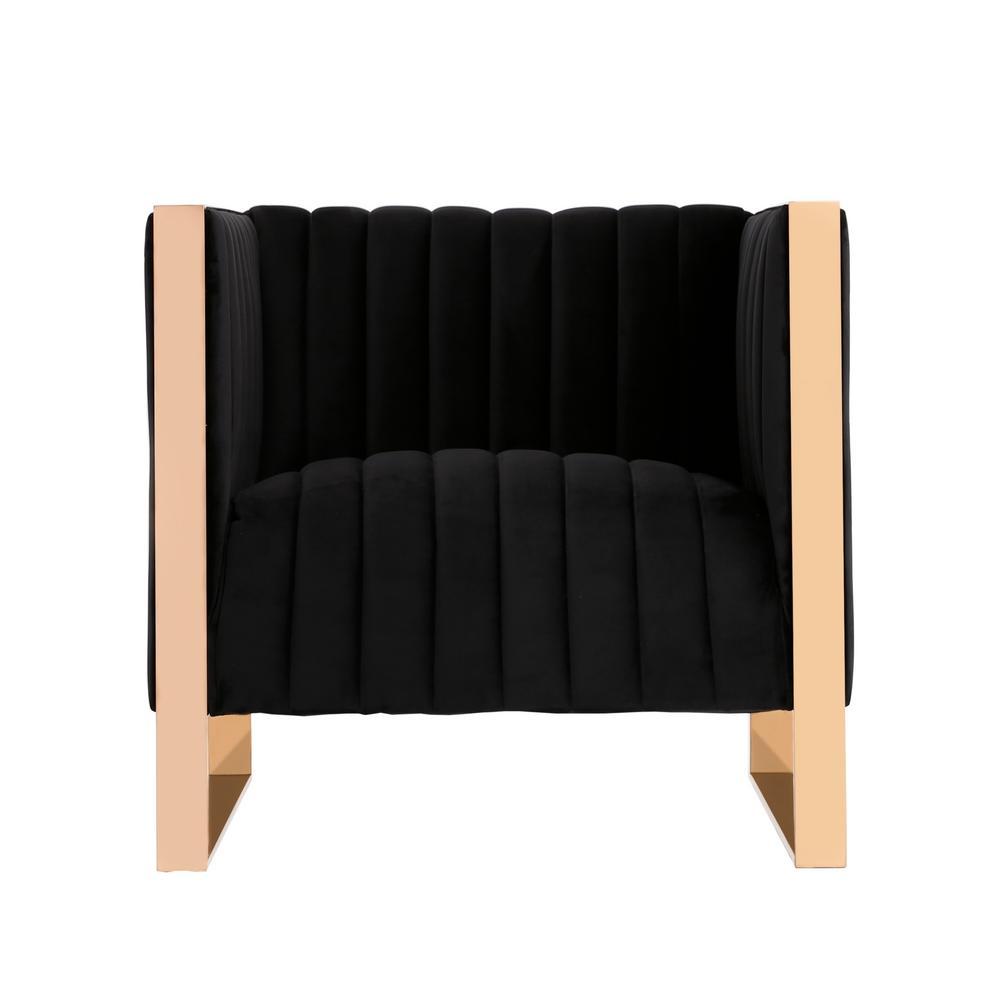 Trillium Black Velvet Accent Chair