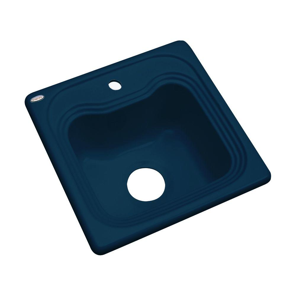 Thermocast Oxford Drop-In Acrylic 16 in. 1-Hole Single Basin Entertainment Sink in Navy Blue