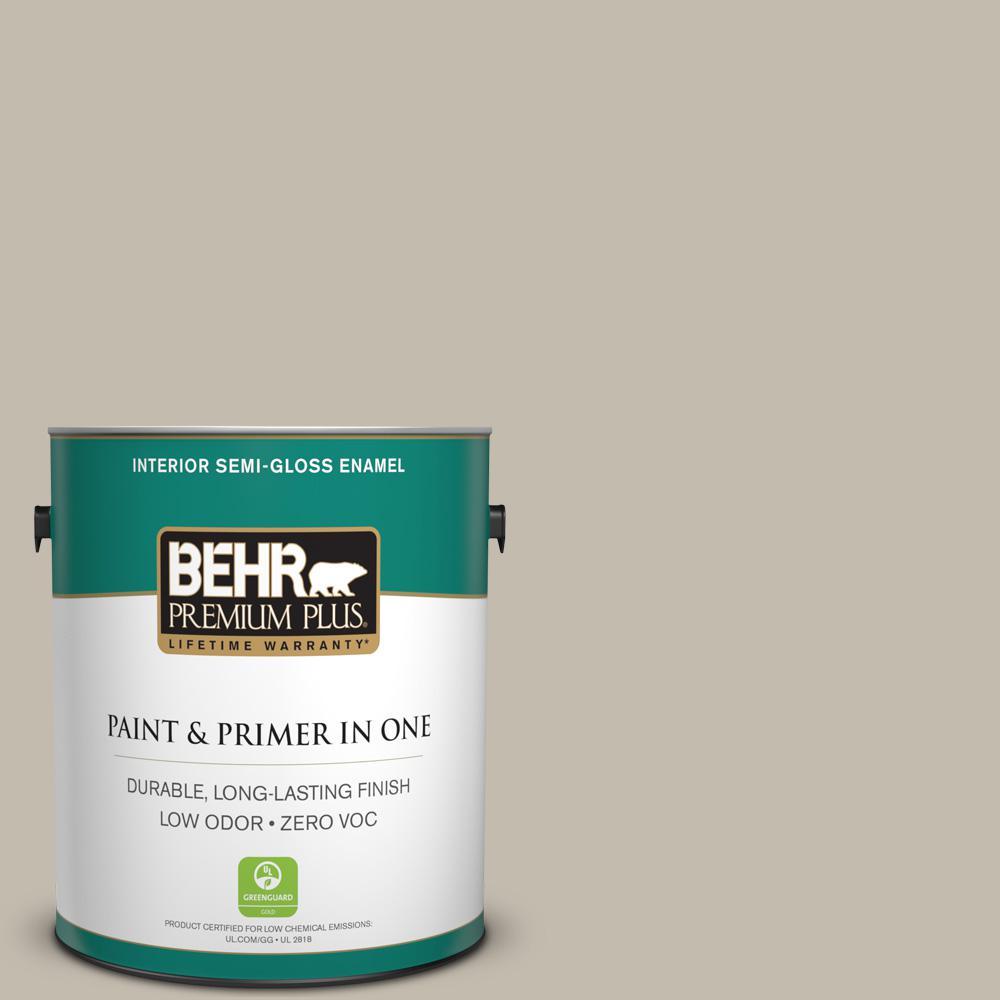 BEHR Premium Plus 1-gal. #ECC-46-1 Sierra Madre Zero VOC Semi-Gloss Enamel Interior Paint