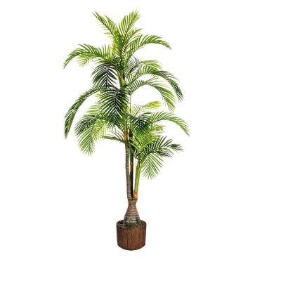 88.8 in. Tall Palm Tree Artificial Indoor/ Outdoor Lifelike Faux In 12.8 in. Brown Wood-like Fiberstone Planter