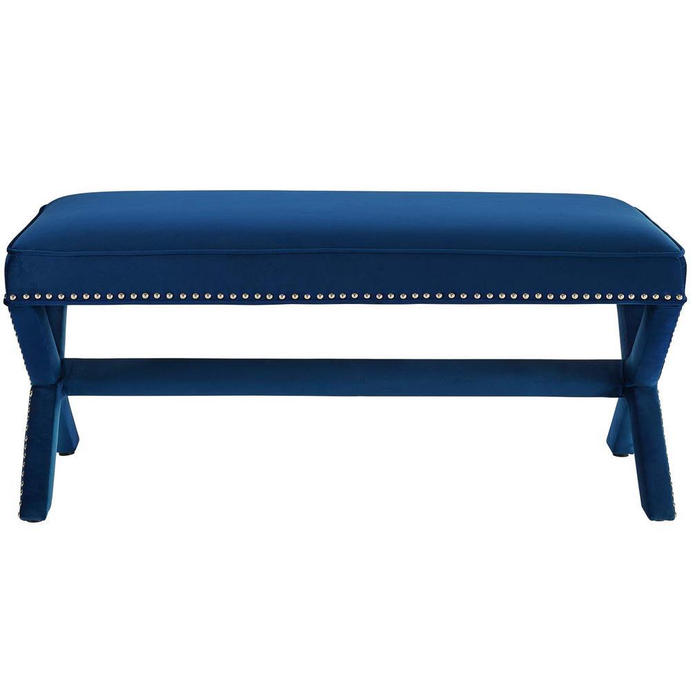 Rivet Navy Upholstered Velvet Bench
