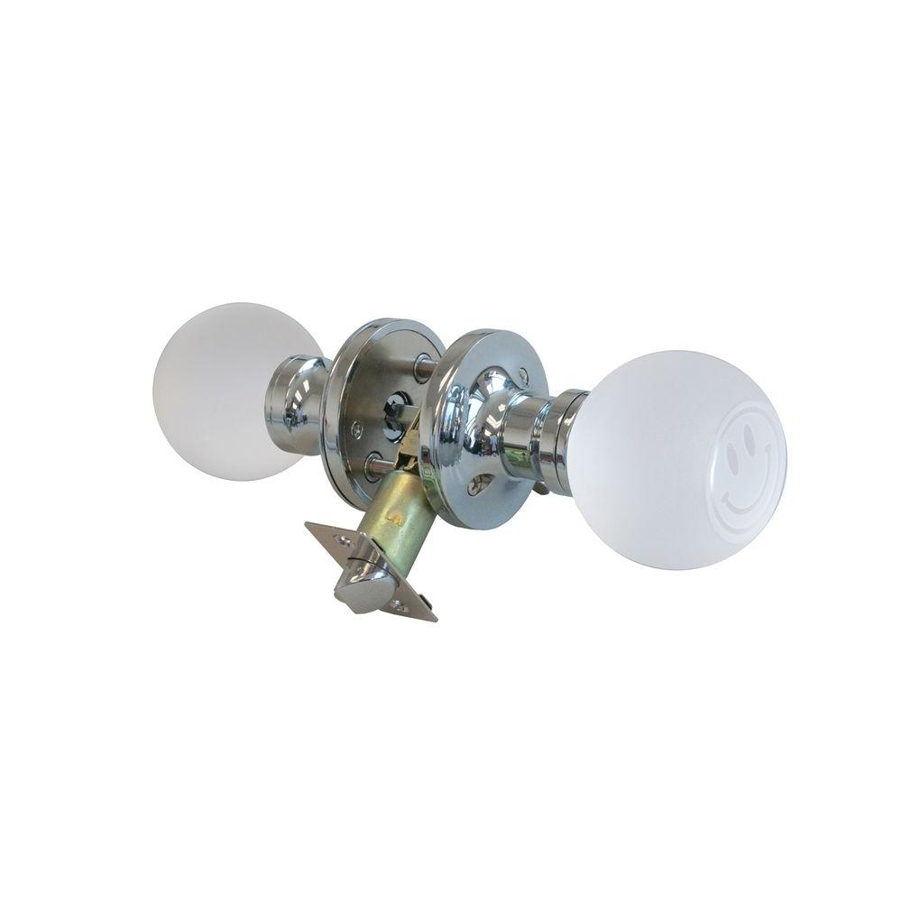 Smiley Face Crystal Chrome Privacy Door Knob with LED Mixing Lighting