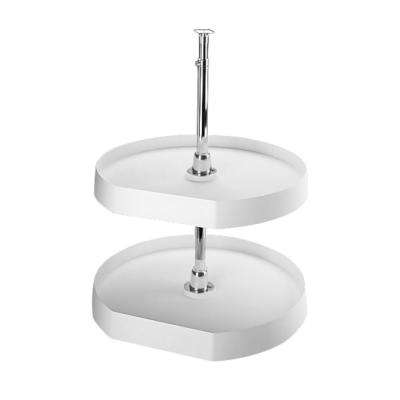 26 in. H x 22 in. W x 22 in. D White Polymer 2-Shelf D-Shape Lazy Susan Set