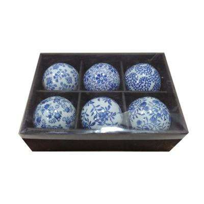 Architectural Ceramic Blue and White Orbs (Set of 6)