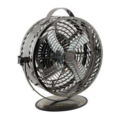 Breeze 8.6 in. Decorative Black Chrome Table Fan