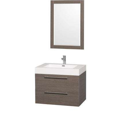 Amare 30 in. Vanity in Grey Oak with Acrylic-Resin Vanity Top in White and Integrated Sink