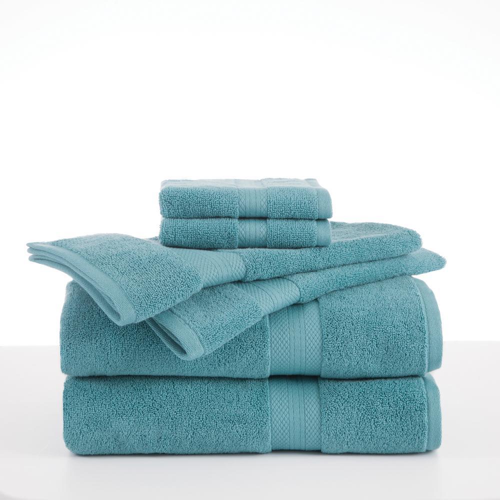 Abundance 6-Piece Cotton Blend Towel Set in Light Turquoise