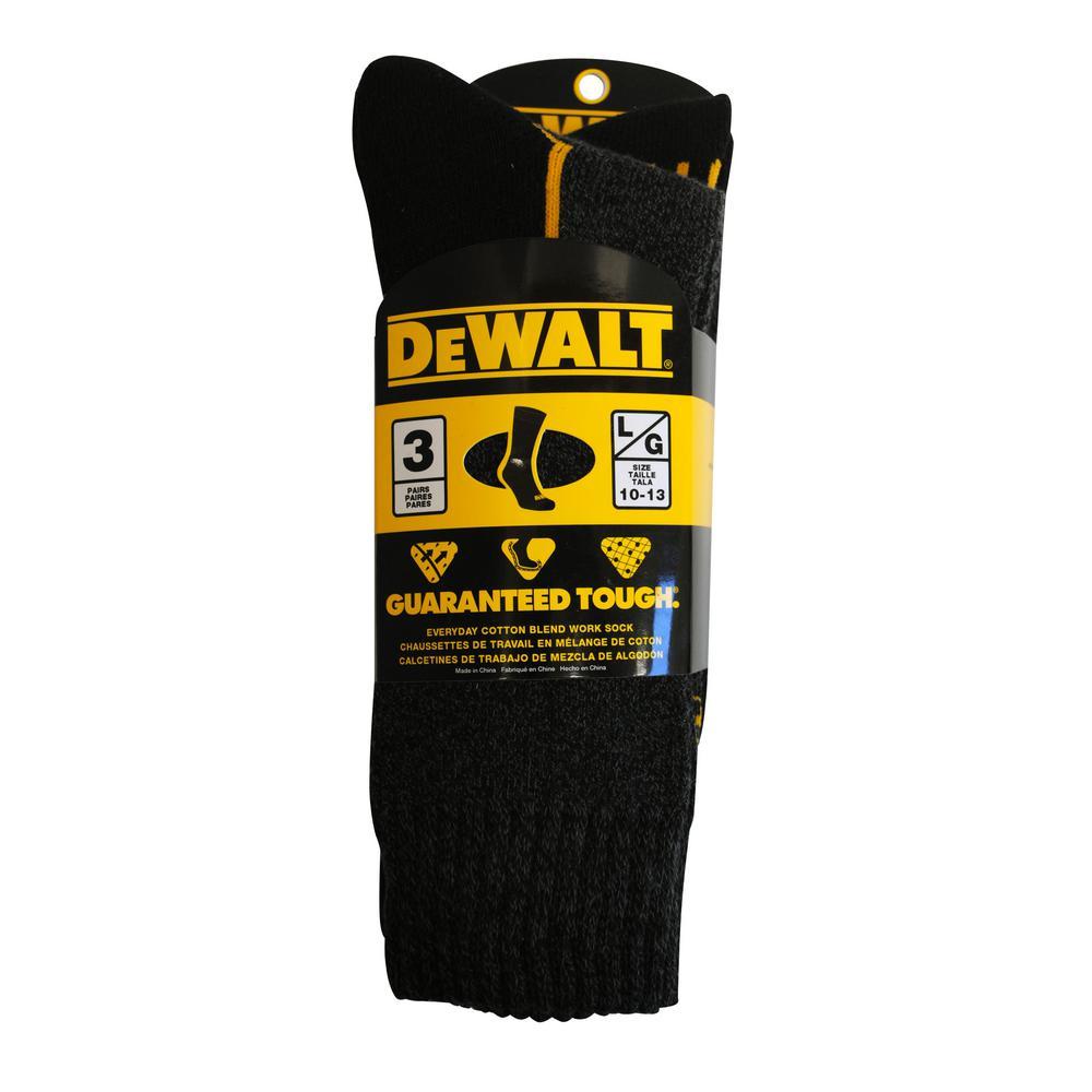 Men's 10-13 Black Everyday Cotton Blend Work Crew Sock (3-Pack)