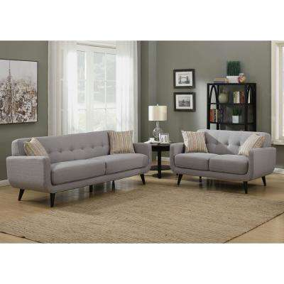 Crystal Upholstered Mid-Century 2-Piece Gray Living Room Set with 4-Accent Pillows