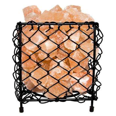 Himalayan Natural Salt 6.5 in. Pink Air Purifying Square Mesh Basket Lamp with Salt Chunks, Bulb and Electric Wire