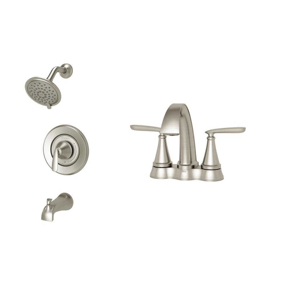 American Standard Somerville 4 in. Centerset Bathroom Faucet and Single-Handle 3-Spray Tub and Shower Faucet Set in Brushed Nickel