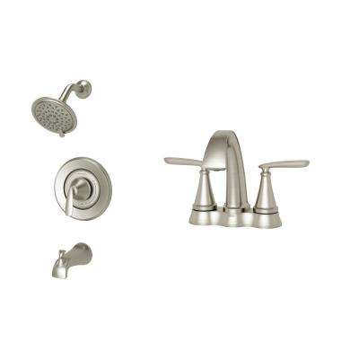 Somerville 4 in. Centerset Bathroom Faucet and Single-Handle 3-Spray Tub and Shower Faucet Set in Brushed Nickel