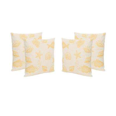 Seaside Beige and Orange Square Outdoor Throw Pillows (Set of 4)