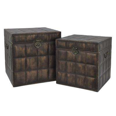 Wood/Leather Box (Set of 2)