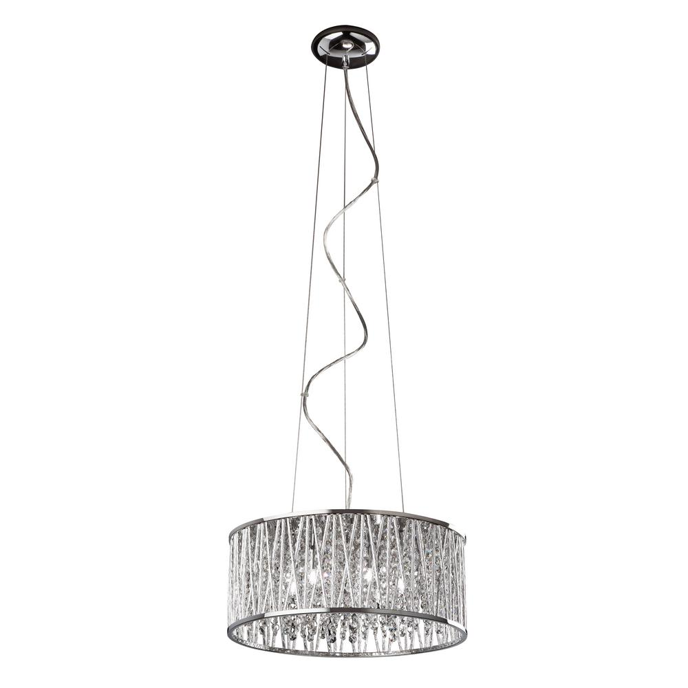 Bel Air Lighting 6-Light Polished Chrome Pendant with Crystal Shade