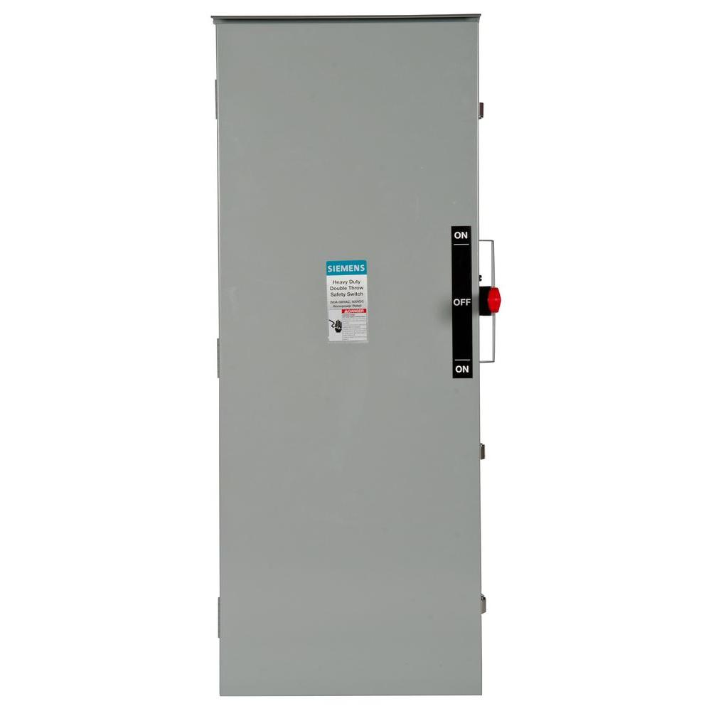 Siemens Double Throw 200 Amp 600-Volt 3-Pole Outdoor Fusible Safety Switch