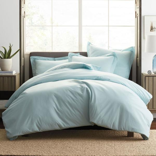 The Company Store Garment-Washed 3-Piece Sky Blue Organic Cotton Percale Queen