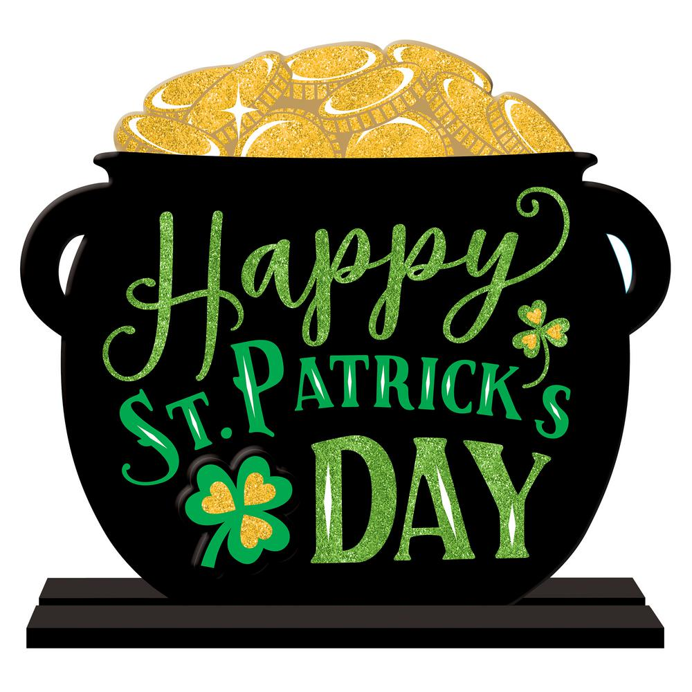Amscan 11.5 in. x 12 in. St. Patrick's Day MDF Pot of Gold Table Sign  (2-Pack)-242037 - The Home Depot