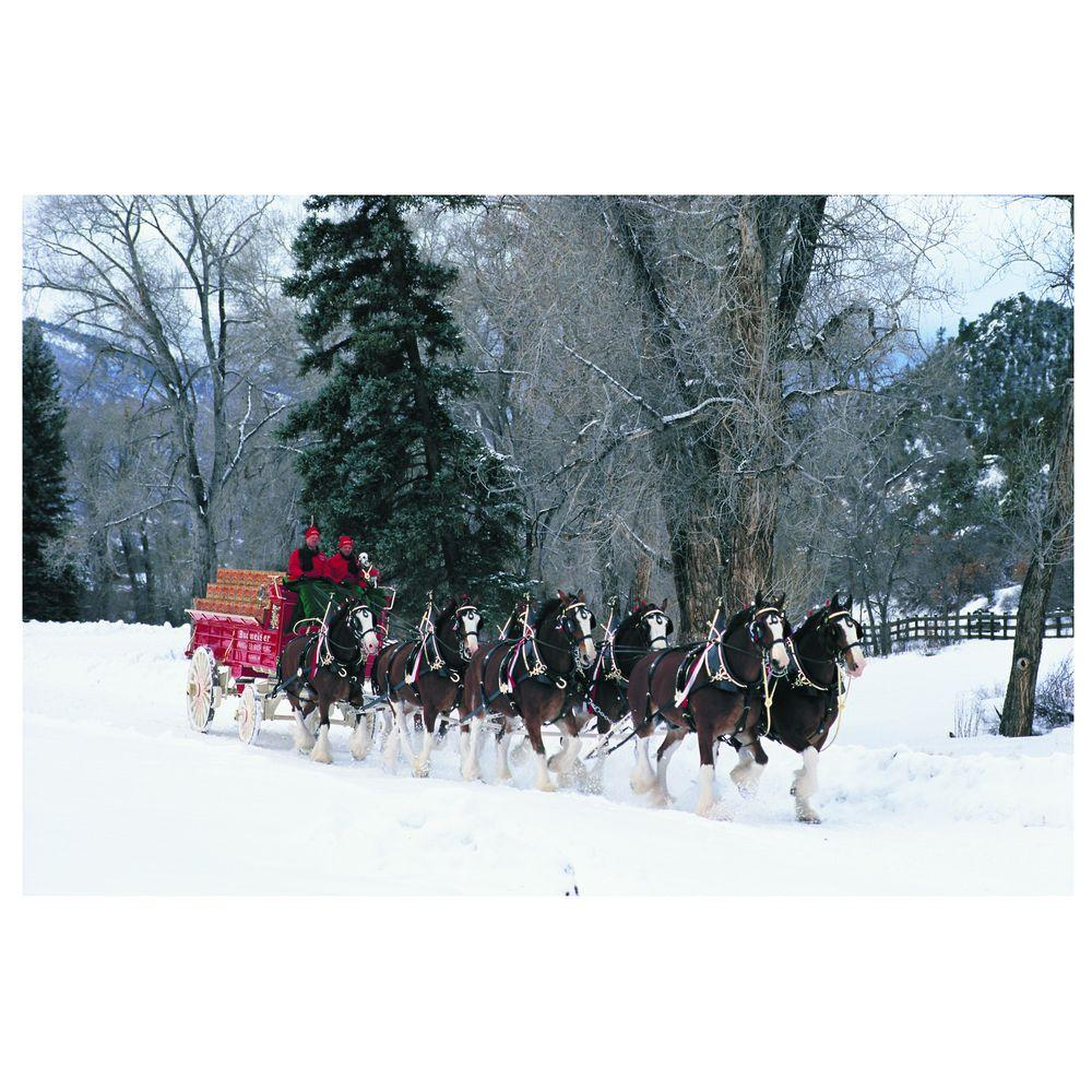 Trademark Fine Art 16 in. x 24 in. Clydesdales Snowing in Forest Canvas Art