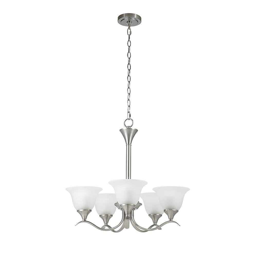 Santa Rita 5-Light Brushed Nickel Chandelier with Glass Shades