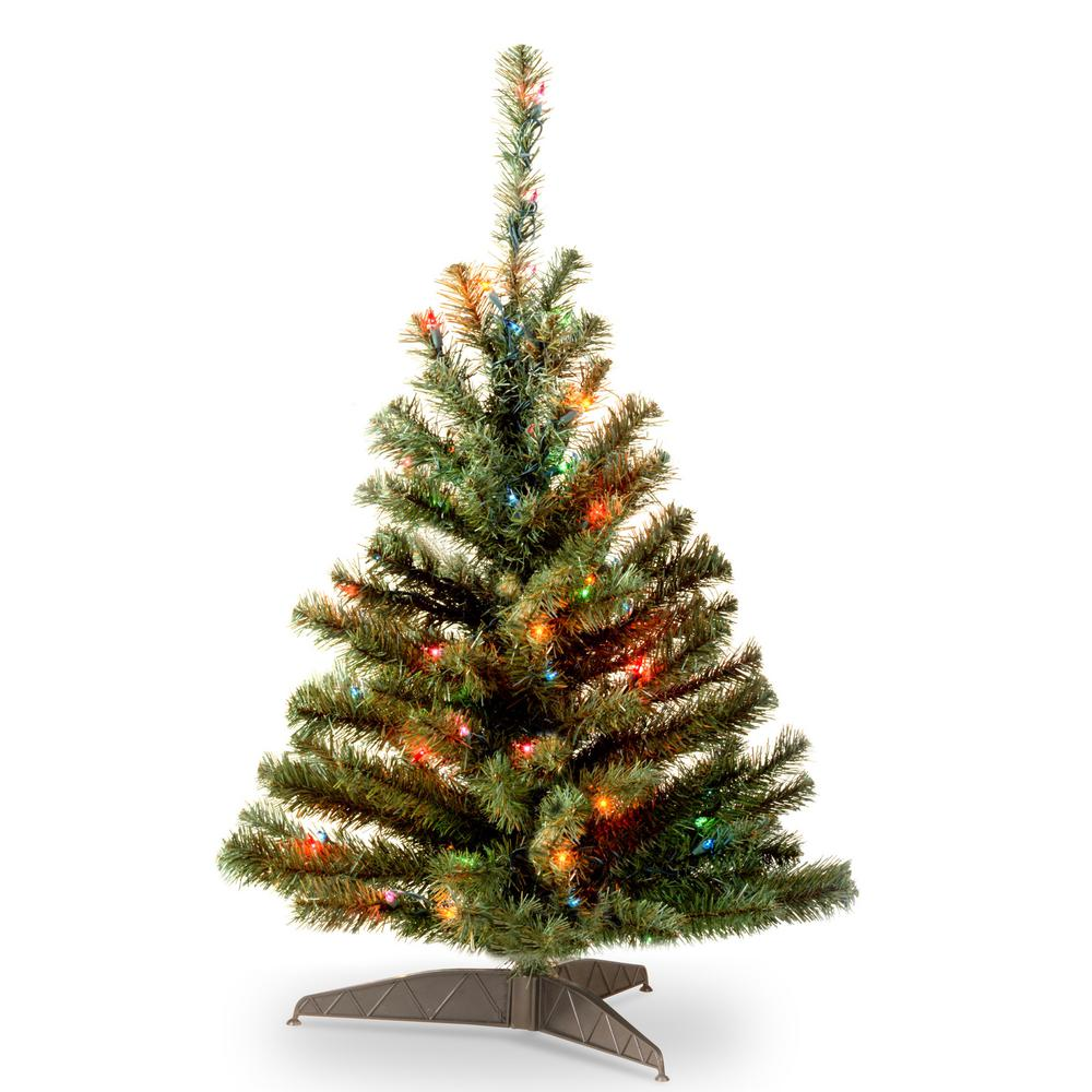 national tree company 3 ft kincaid spruce artificial christmas tree with multicolor lights