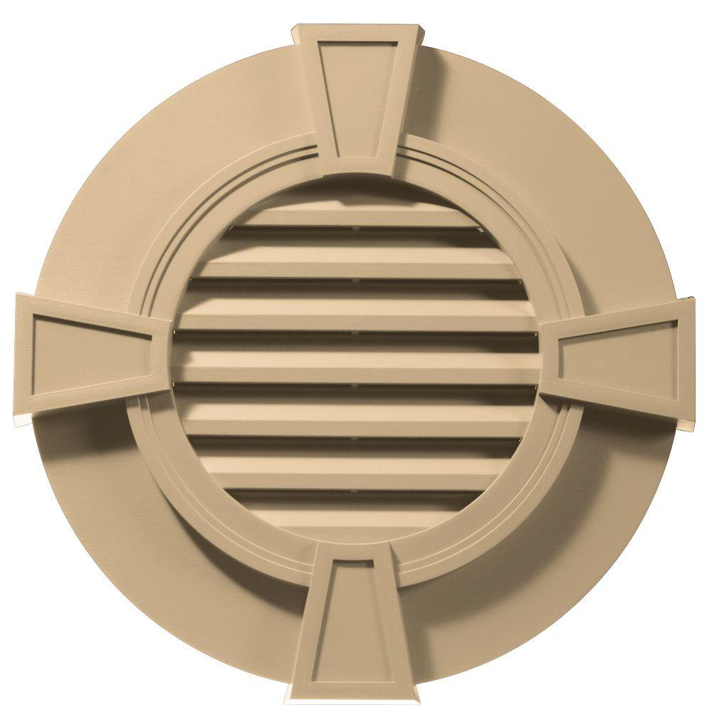 Builders Edge 30 in. Round Gable Vent with Keystones in Sandstone Maple