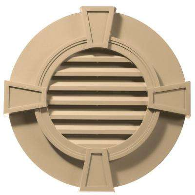 30 in. Round Gable Vent with Keystones in Sandstone Maple