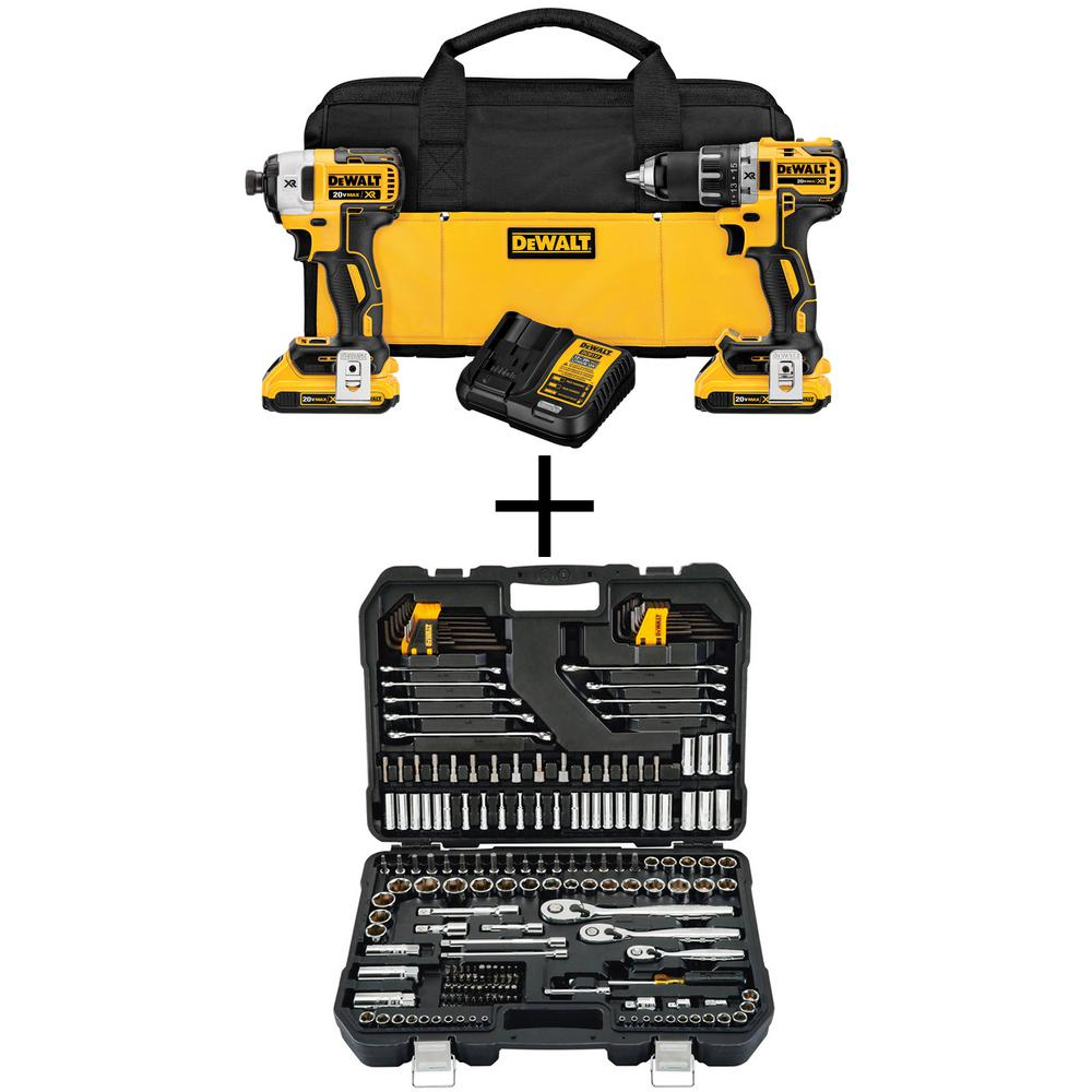 DEWALT 20-Volt MAX XR Lithium-Ion Cordless Brushless Drill/Impact Combo Kit (2-Tool) with Bonus Mechanic Tool Set (200-Piece)
